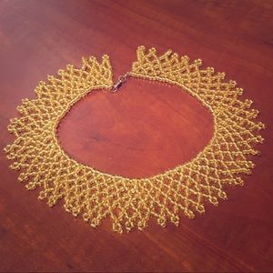 Vintage Gold Seed Beaded Collar Necklace